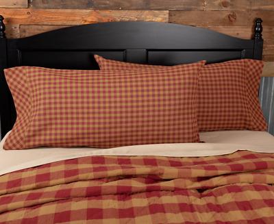 TETON STAR NAVY CHECK Pillow Case Set Farmhouse Rustic Primitive VHC Brands