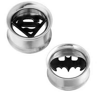 New Stainless Steel Batman Superman Ear Tunnel Stretcher Plug Various Sizes