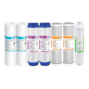 7 Pack 5 Stage Reverse Osmosis System Water Filter Home RO Cartridges 1-Year Set
