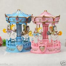 Vintage Horse Carousel Music Box Toy Light Clockwork Musical Birthday Gifts USA