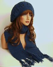NEW NAVY BLUE RASTA HAT AND SCARF SET BERET CLOCHE BAGGY SLOUCHY TAM HIPPIE