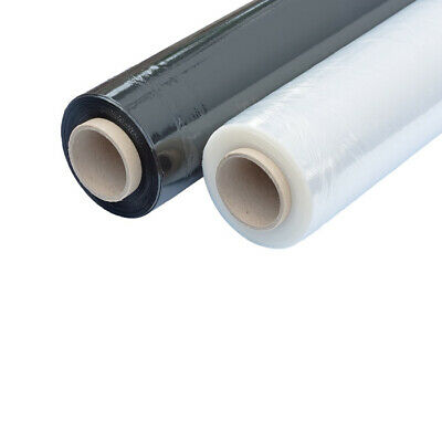 2 Roll Strong Pure Black Pallet Stretch Shrink Wrap Film 500 mm x 250 m 22 mu