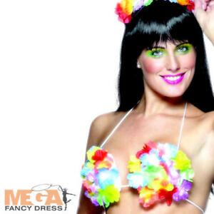f0d0d61c1bca Image is loading Aloha-Hawaiian-Flower-Bra-Adults-Fancy-Dress-Hawaii-