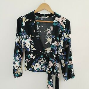 Rolla-039-s-Women-039-s-Wrap-Long-Sleeve-Floral-Top-Cropped-Size-XS