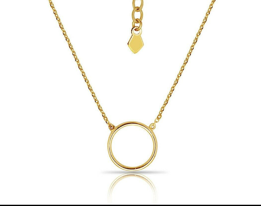 14K Yellow gold Pendant Circle Shape With 16  Chain