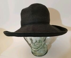 5f440179e Eric Javits New York Classic Packable Squishee Woven Black Straw Hat ...