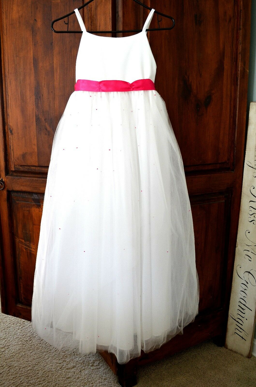 Sweet Beginnings Bridesmaid Flower Girl Tulle DRESS sz 10 white pink fucshia