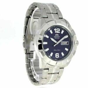 Orient-Automatic-Men-039-s-Watch-FEM7L004D9-Blue-Dial-Silver-Link-Bracelet