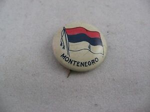 Interesting Antique Vintage COUNTRY FLAG Pin Pinback: MONTENEGRO FLAG