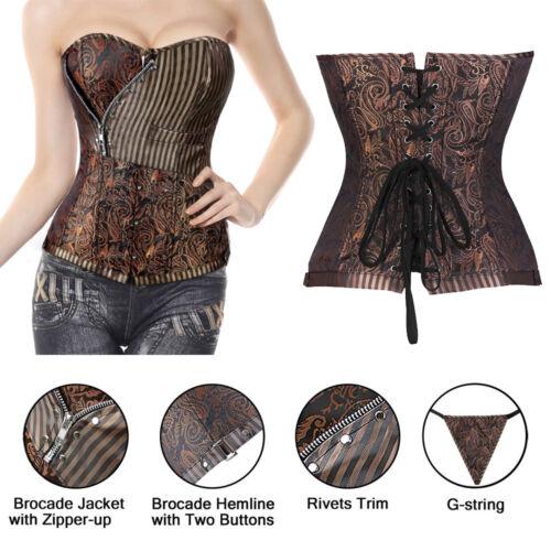 Women Gothic Steampunk Party Costume Corset Bustier Basque Burlesque Dress Top