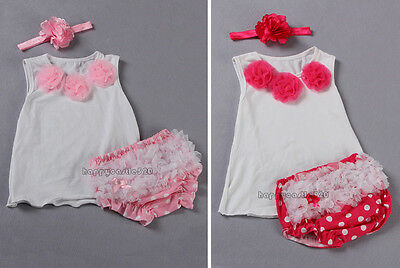 3pcs Baby Girl Newborn Kids Flower T-shirt Headband+Top+Shorts Pants Set Clothes