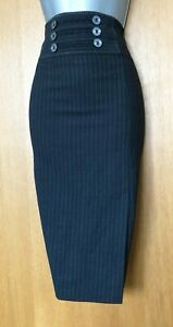 Karen-Millen-UK-12-Grey-Waist-Button-Detail-Office-Midi-Length-Pencil-Skirt-EU40