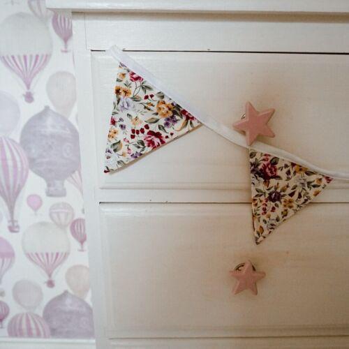 5 drapeaux Pépinière Handmade D//Verso Mini Floral Bunting 100/% coton.