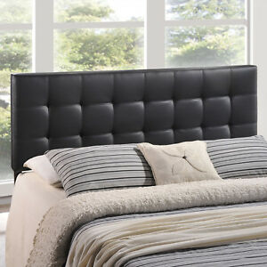 Tufted Upholstered Faux Leather Square Full Size Headboard