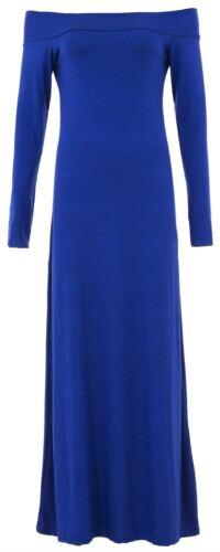 Damen Übergröße Schulterfrei Langärmelig Aufgeweitet Swing Maxi Kleid 8-22