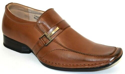 Men/'s Dress//Casual Shoes Moc Toe Slip On Loafers Cognac MAJESTIC 88287