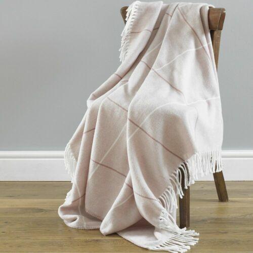 Mirano Check Stripe Acrylic Fleece Throw Sofa Blanket Grey Pink