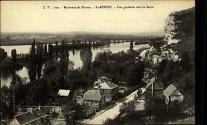 St-Adrien-France-CPA-1910-20-environs-de-Rouen-Vue-generale-vers-la-Seine-Fluss