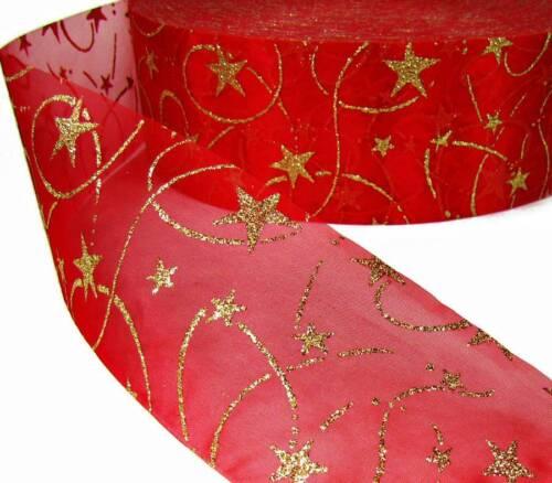 "10 Yds Red Gold Glitter Swirl Stars Sheer Ribbon 2 3//4/""W"