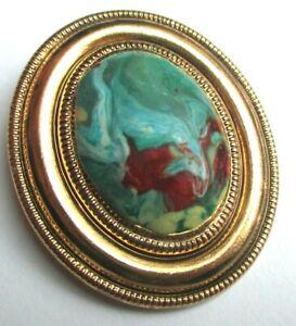 éNergique Broche Ovale Couleur Or Cabochon émail Chiné De Couleur Bijou Vintage 2326 ArôMe Parfumé