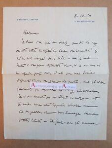 L-A-S-1931-Marechal-Hubert-LYAUTEY-Militaire-academicien-lettre-autographe-Nancy