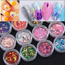 New 12 PCS Nail Art Tips Stickers Acrylic 3D Glitter Sequins Manicure DIY Decals