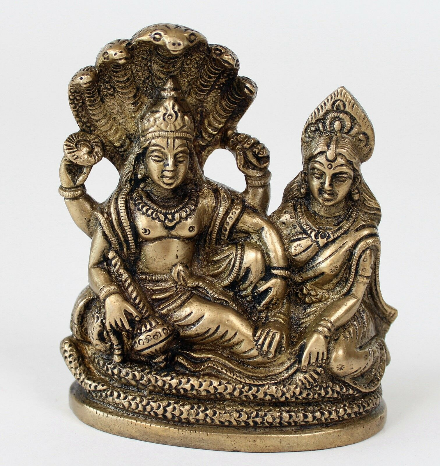 Laxmi sottili e Visnù statua 11 cm di altezza Himalaya BUDDHA YOGA MEDITAZIONE 0,8 kg