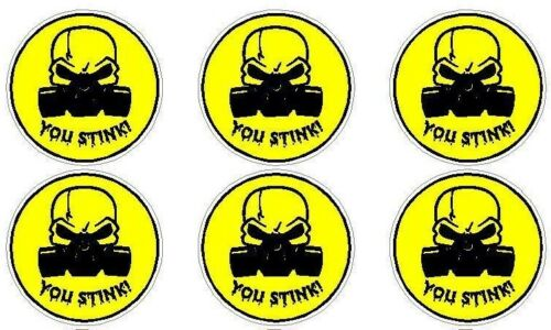 HARD HAT CAR TRUCK FUNNY STICKER DECAL GAS MASK YOU STINK
