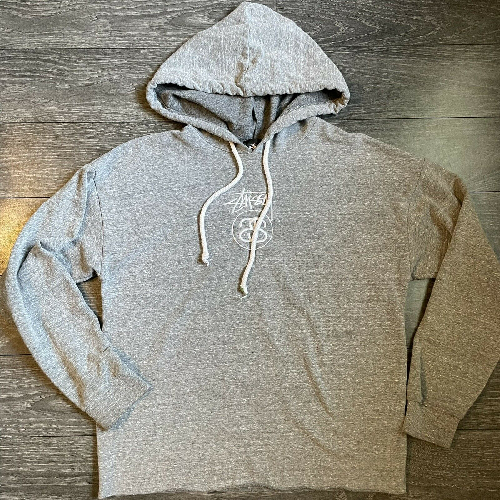 Stussy Gray Cropped Raw Hem Pullover Hoodie Front Logo Women's S *FLAW