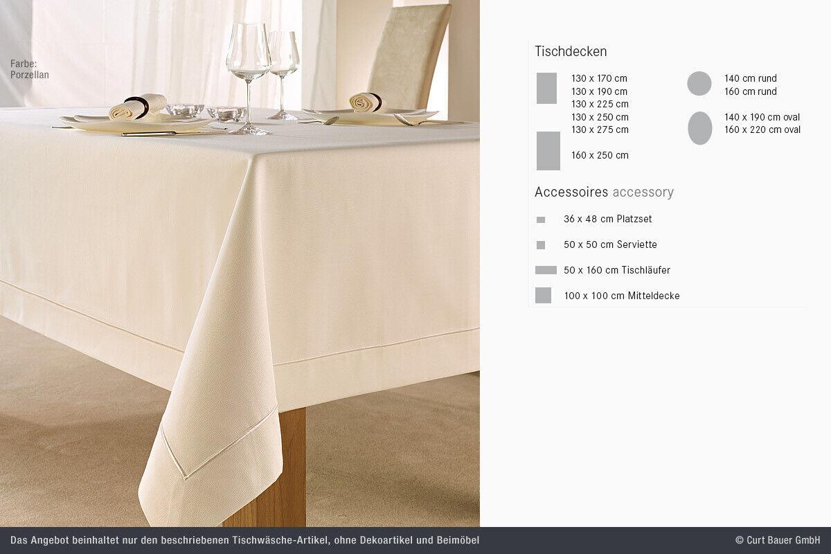 Curt Bauer Damassé Nappe Linge de 130 170 Excellent porcelaine