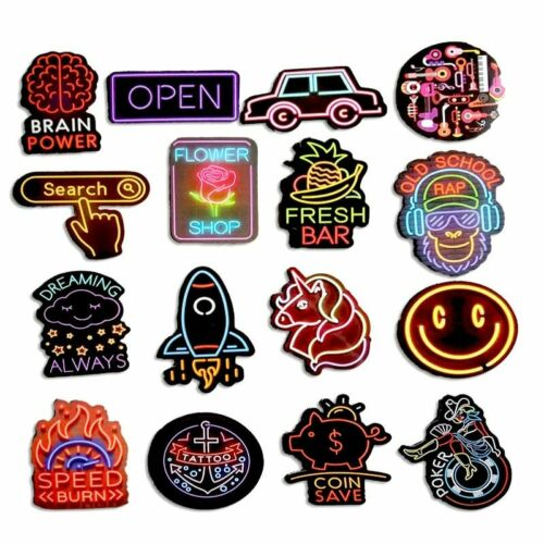 50pcs Neon Sign Stickers Cool Neon Light Sticker for Laptop Suitcase Guitar