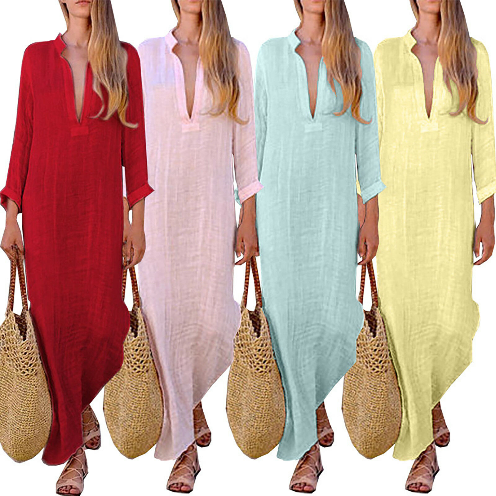 Womens Boho Linen V Neck Long Maxi Dress Long Sleeve Summer Beach Kaftan Dresses