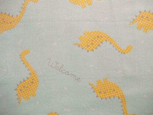 Handmade  flannel  fitted crib sheet Pale Aqua//Yellow Dinosaurs