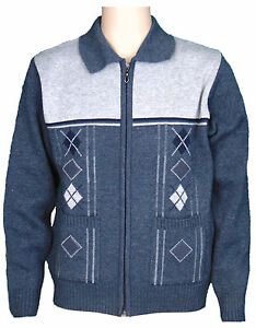 Mens Cardigans Knitted Classic Style With Zip Up Front and 2 ...