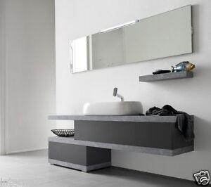 Piani Lavabo Bagno In Pietra.Dettagli Su Mobile Da Bagno Lusso Moderno Sospeso Vari Colori Mod El26 L 170 Top Pietra