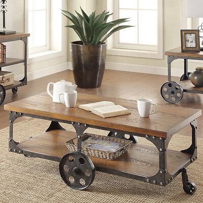 Vintage Coffee Table Industrial Reclaimed Wood Living Room Swivel Wheels  New   EBay