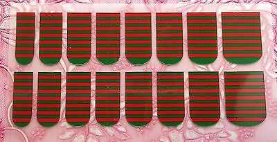 NAIL ART DECALS FOIL WRAPS 4 FINGERS/TOES CHRISTMAS CANDY STRIPES RED/GREEN #990