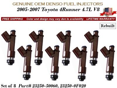 8 Fuel Injectors OEM DENSO for 2005-2009 Toyota//Lexus 4.7L V8 #23250-50060
