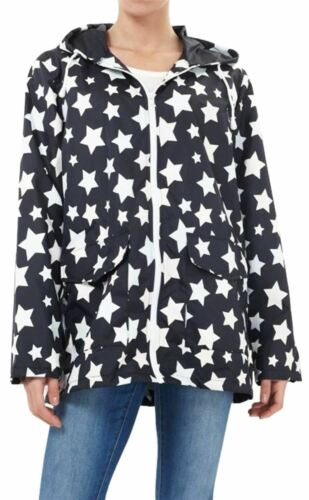 New Womens All Over Star Print Waterproof Mac Jacket Raincoat 18-24