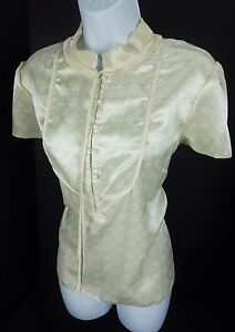 Womens-12-Blouse-Beige-Career-Casual-Shirt-Ruffle-Collar-Asian-Inspired