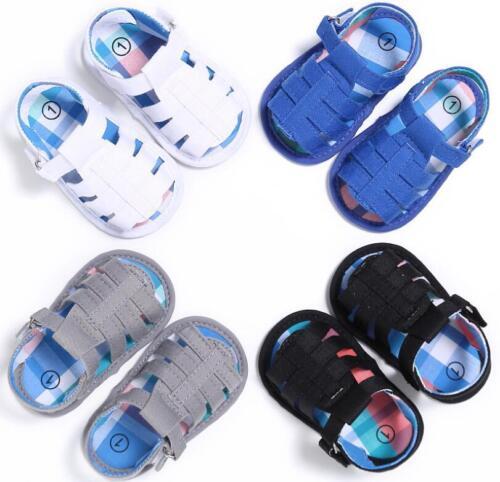 Newborn Baby Boy Cotton Pram Shoes Toddler First Pre Walkers Summer Sandals 0-18