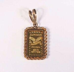 18 gram 14k yellow gold bezel with 24k 1 gram gold bar pendant ebay image is loading 1 8 gram 14k yellow gold bezel with aloadofball Image collections