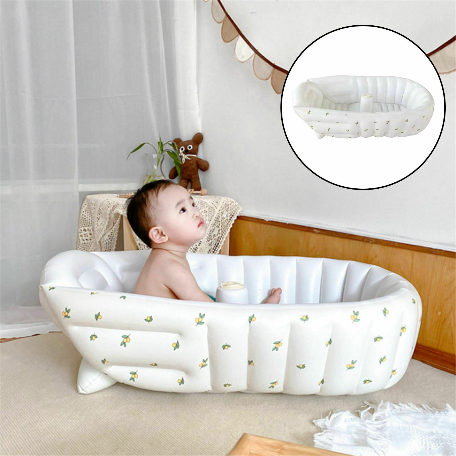 Inflatable Bathtub Support The Back Seat Raised Section Drain Plug for Baby