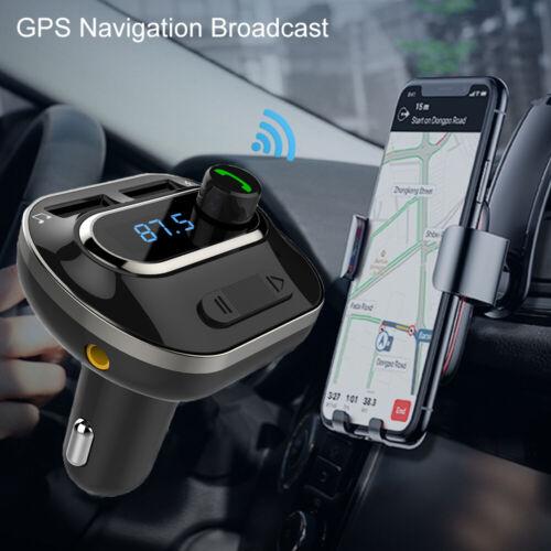 Wireless In-Car Bluetooth FM Transmitter AUX Radio Adapter Car USB Port US Stock