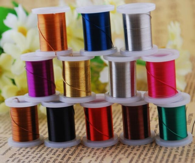 Assorted 12pcs Spools Copper Metal Wire Carft Jewelry Findings 0.3/0.4/0.5 mm