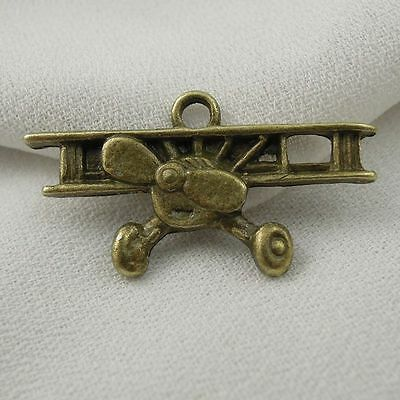 50pcs Antique Bronze Vintage Alloy Warcraft Airplane Pendant Charms 36761