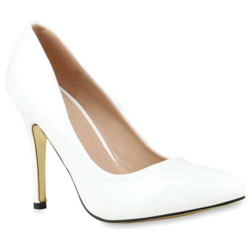 Spitze Damen Pumps Lack Stilettos Elegante High Heels 76834 New Look