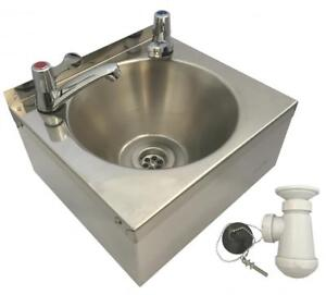 SQUID® SINK with LEVER TAPS Stainless Steel HAND WASH BASIN Waste, Plug & Trap 747742136061