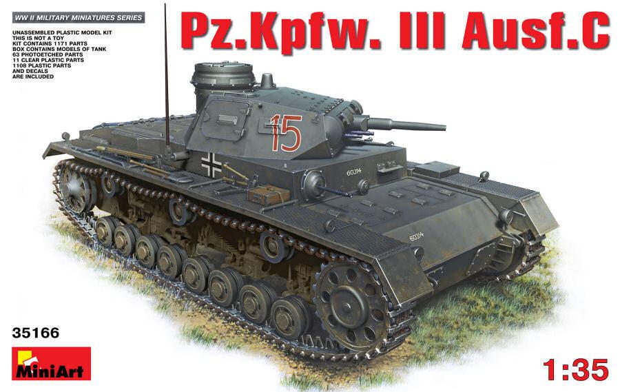 Pz.Kpfw. III Ausf.C Tank Carro Armato Plastic Kit 1 35 Model MINIART