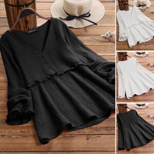 Mode-Femme-Chemise-Decontracte-lache-Manche-Longue-Col-V-Loisir-Haut-Shirt-Plus